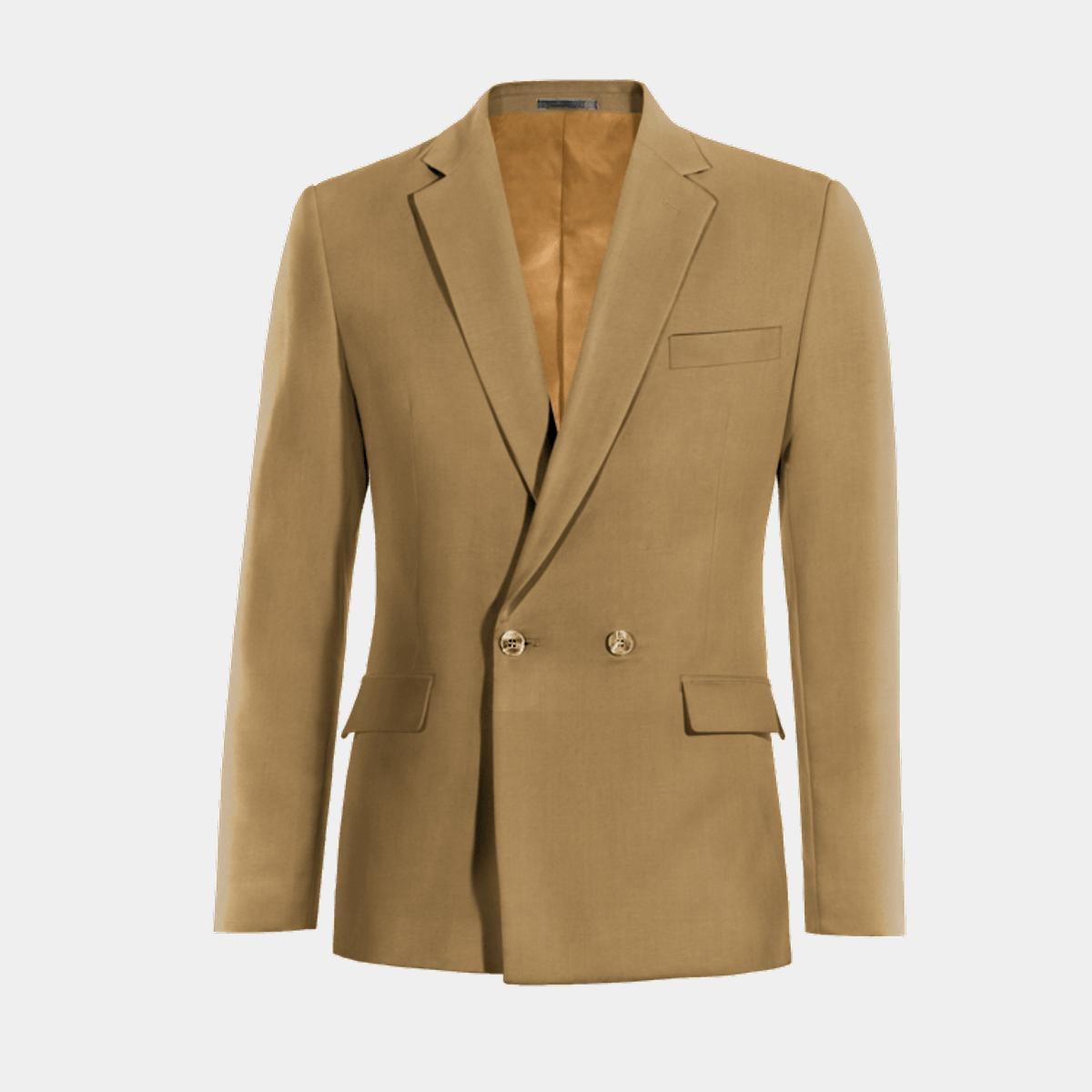 Blazer beige cruzado de lana  4 f72690d5743