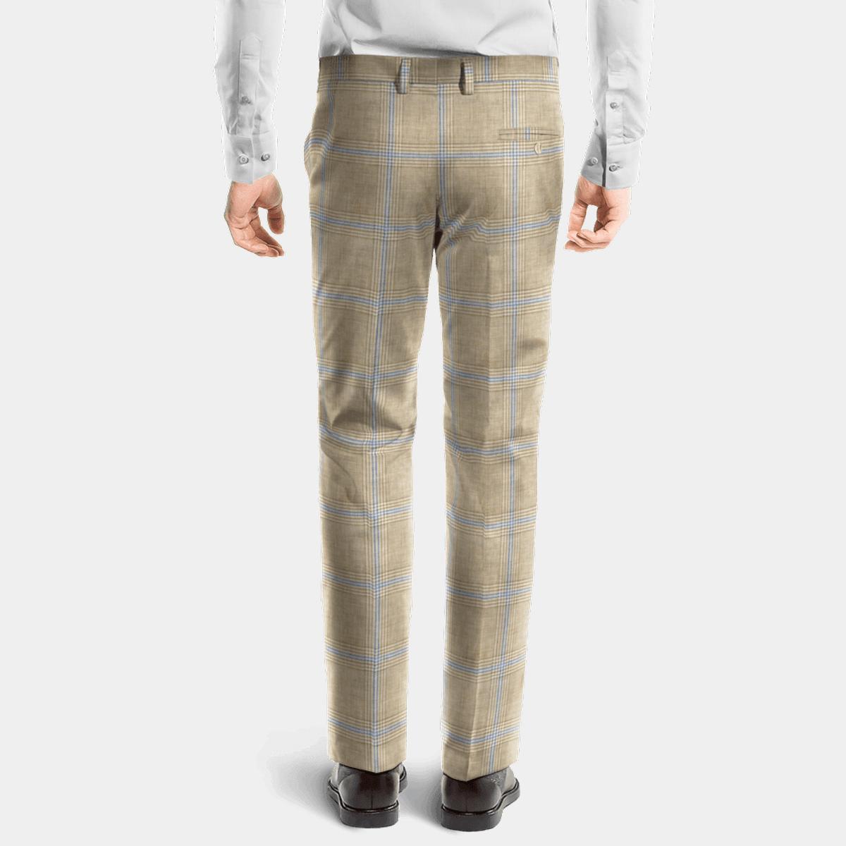 Pantalón beige de corte recto de Lino a cuadros  2 41cb46a3c98