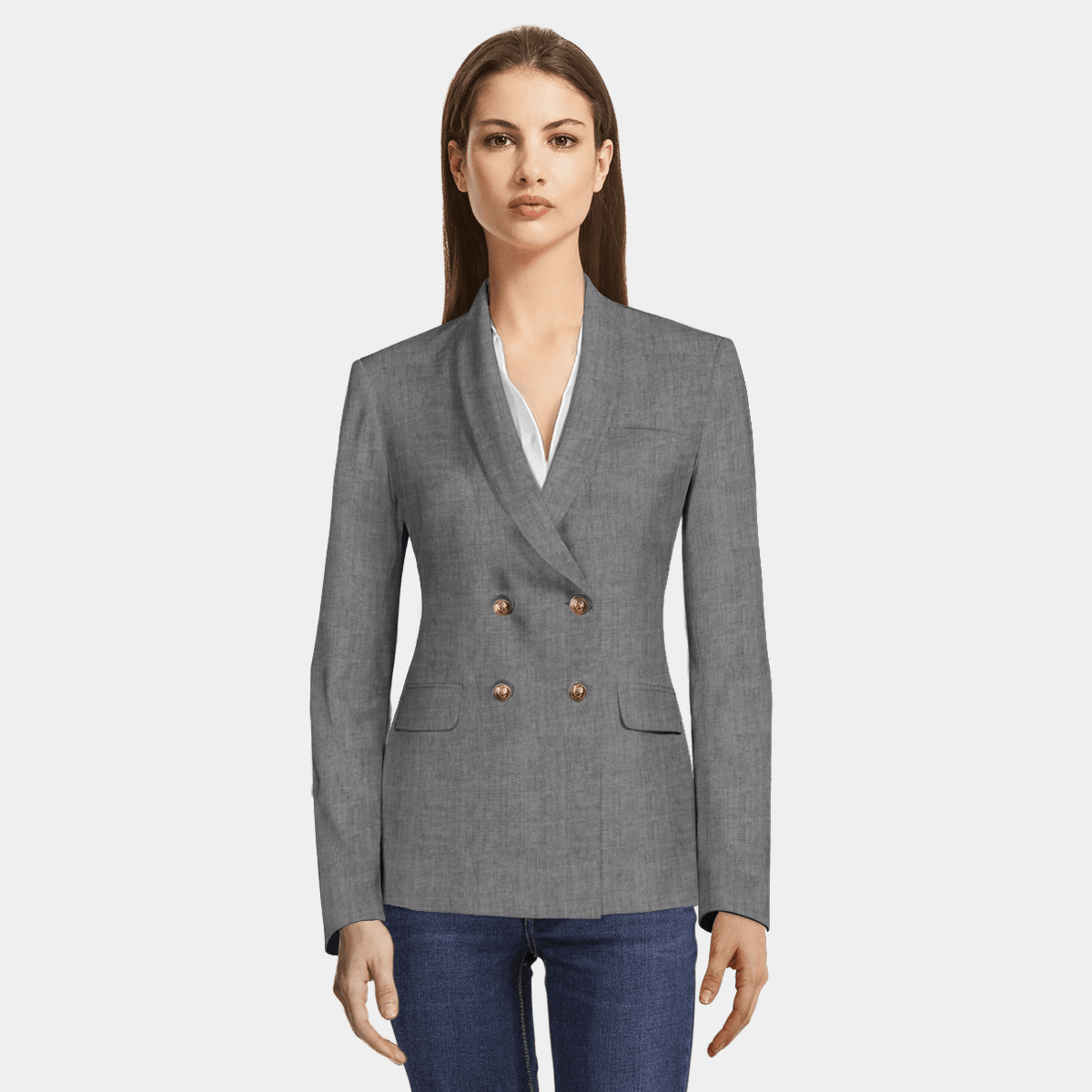 f5e32739 Grey linen double breasted Blazer with brass buttons