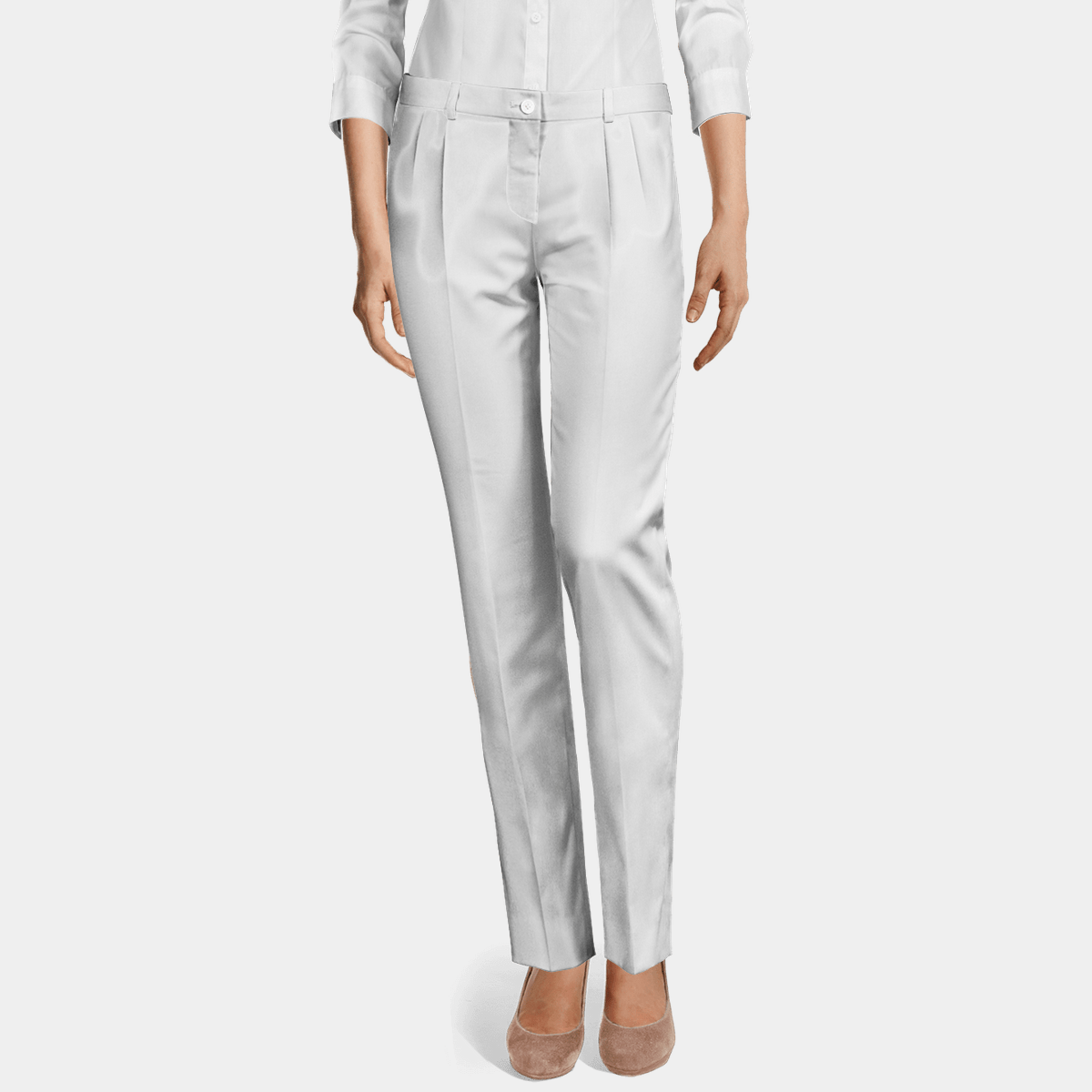 White Linen pleated Women Dress Pants
