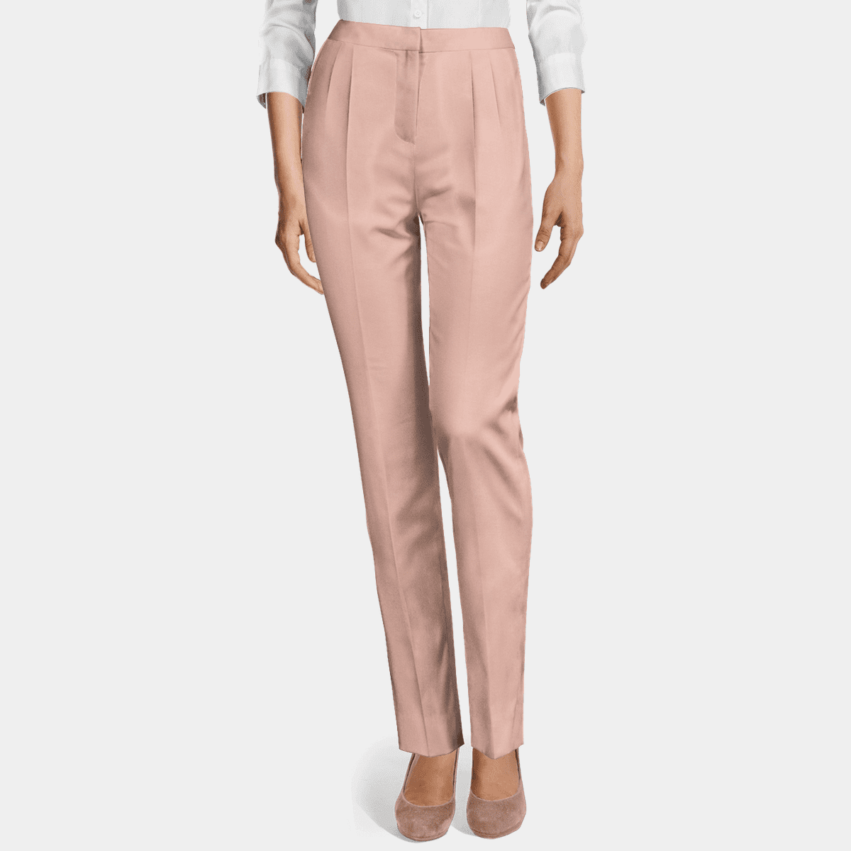 Pink stretch high waisted pleated Women Dress Pants