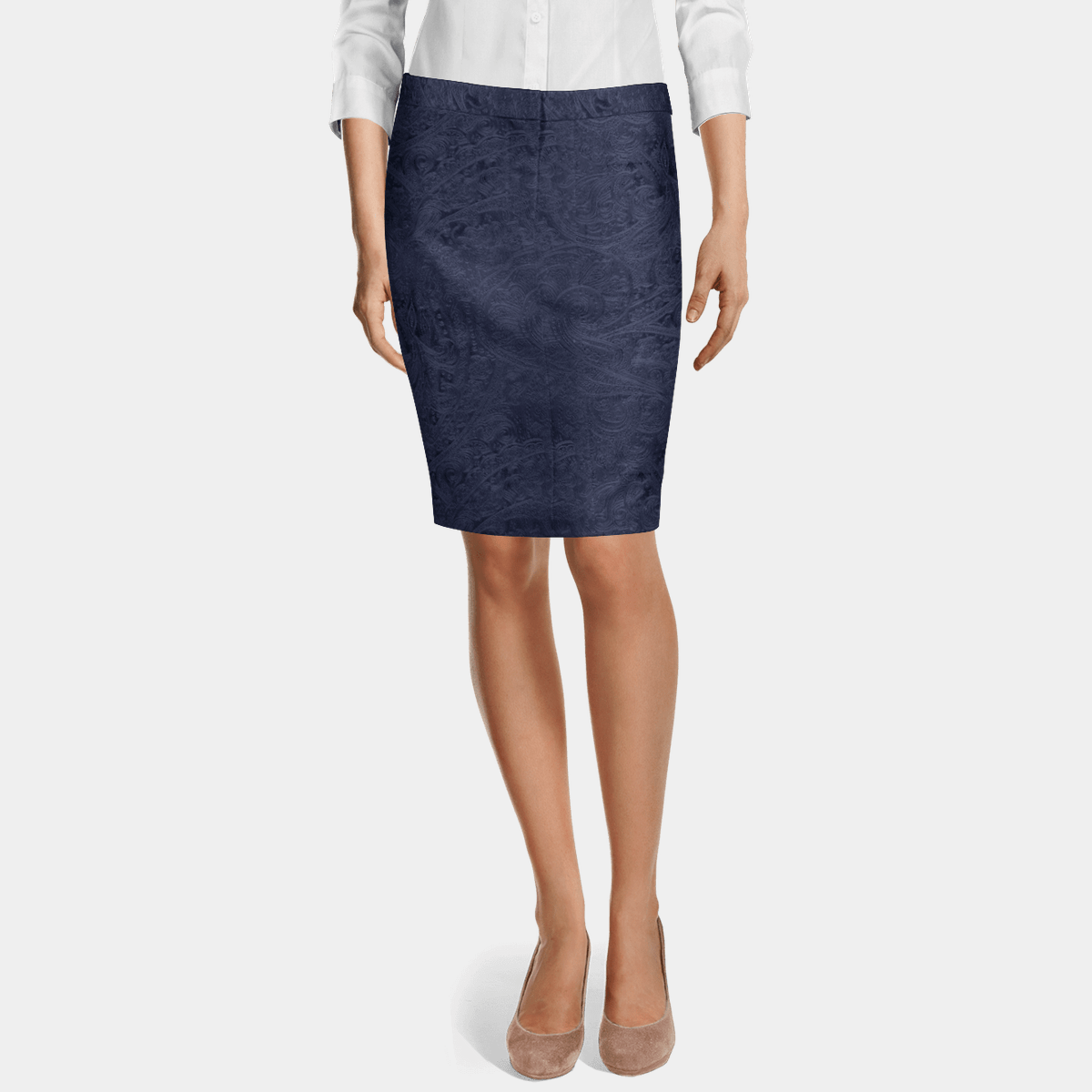 Navy Blue Paisley Velvet Pencil Skirt 79 Sumissura